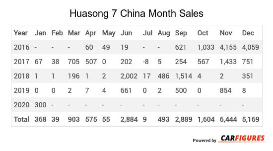 Huasong 7 Month Sales Table
