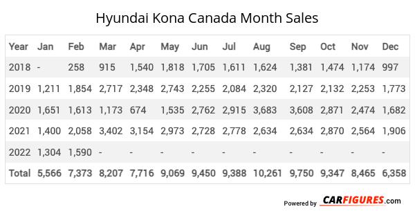 Hyundai Kona Month Sales Table