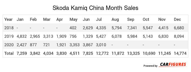 Skoda Kamiq Month Sales Table
