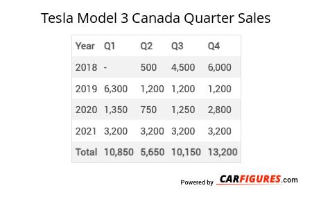 Tesla Model 3 Quarter Sales Table