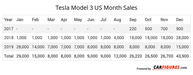 Tesla Model 3 Month Sales Table